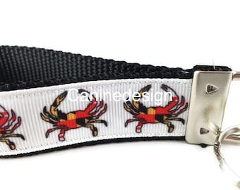 Maryland Crab Keychain, Key fob, Wristlet