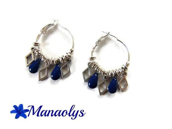 Hoop earrings, Bohemian, drop earrings Navy blue enamel, diamond silver