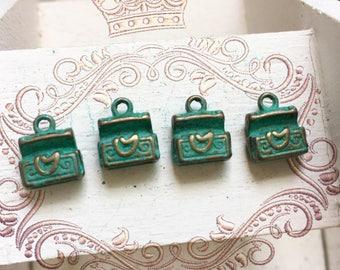 Handpainted Verdigris Patina 3D Treasure Box Metal Charms (18024) - 11x10mm