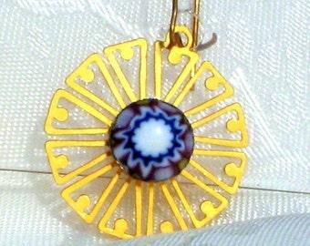Star Light Venetian Glass Vintage Earrings Filigree Dangles Dainty White Red Blue Pierced 1960's 1970's Flower Power Murano Original Card
