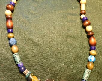 Black, white, blue beaded necklace