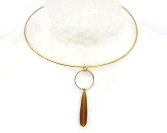 Modern choker, Ring Necklace, Gold Choker, Minimalist necklace, Geometric Choker, Seaglass jewelry, Dainty circle necklace, Gift for her, U1