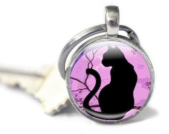 Cat key ring, Cat Glass Keyring, Cat keyring Black Cat key chain, Silver Glass  Keyring (CKR2)