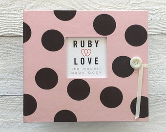 BABY BOOK | Pink and Brown Large Polka Dot Album