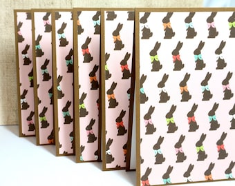 Easter Bunny Cards- Easter Card Set- Easter Bunny- Chocolate Bunnies- Easter Cards- Note Cards- Blank Cards Set