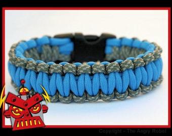 550 Paracord Survival Bracelet - ACU Camo and Colonial Blue