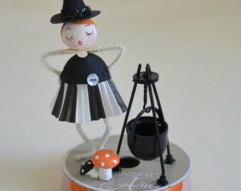 Gesponnen aus Baumwolle-Halloween-Hexe / Halloween Ornament / Retro-Stil
