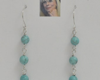 Sky Blue Fire Turquoise Sterling Silver Dangle Earrings CSS149E
