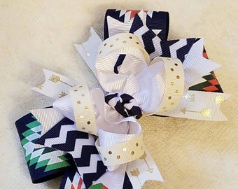 Aztec print Stacked Boutique Hairbow