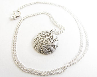 PMC pendant , Silver Leaf Necklace , Silver Necklace Floral , Fine Silver .999 Silver , Metal clay jewelry , PMC necklace , Growth symbolism