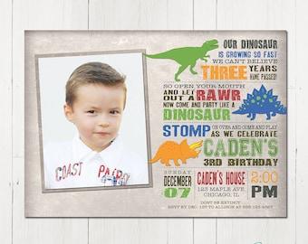 Dinosaur Birthday Invitation, Dinosaur Invitation, Dinosaur Printable Invitation, Dinosaur Photo Invitation, Dinosaur Party, Printable