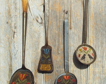 E-Pattern Punch Needle Flowers Crow Antique Spoon Ladle Dipper Flipper Inserts