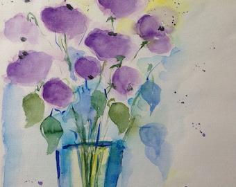 Original watercolor painting flowers flowers Watercolor Art