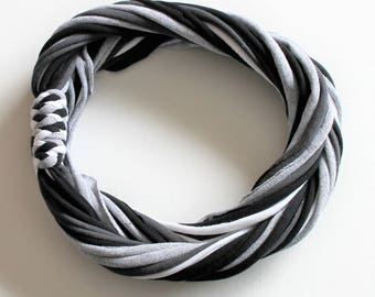 T Shirt Scarf - Infinity Circle Scarves Recycled Cotton - Black White Gray Grey Silver Heather Dark Charcoal Zebra Neutral Necklace