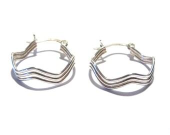 Vintage Zig Zag Sterling Hoop Earrings Lever Back