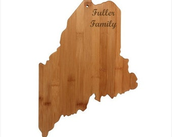 Engraved Maine Cutting Board - Maine Shaped Bamboo Cutting Board, Custom Engraved - Wedding Gift, Couples Gift, Housewarming Gift