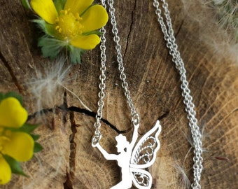 Sterling silver fairy necklace, hand cut fairy pendant, whimsical fairy jewelry