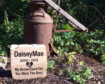 """Large personalized and polished real stone pet headstone.""""South Bay quartzite"""""""