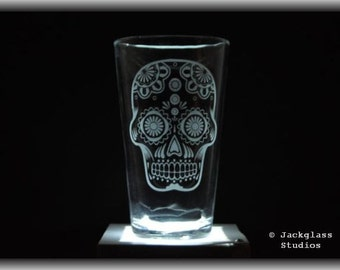 Etched Sugar Skull Pint Glass, Day of Dead Gift, Dia De Los Muertos, Sugar Skull Candy by Jackglass on Etsy