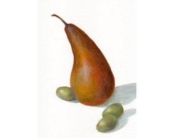 Small Acrylic Painting of Pear Food Still Life, Original Painting Minimalist Art for Kitchen Decor