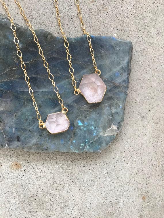 Gemma Necklace // gold plated quartz point decorative gold chain