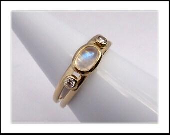 Moonstone and Diamond 14k Gold Ring