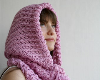 Pink Wool Hooded  Chunky Infinity LOOP Scarf  Cowl Mothers  Day gift Under USD75