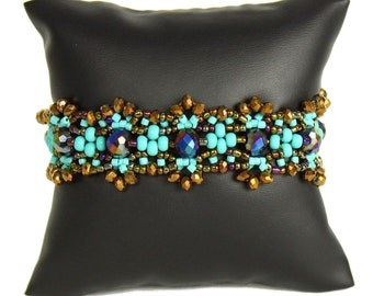 Hand beaded turquoise bronze bracelet, double magnetic clasp, crystalicious 7.5 inches #131