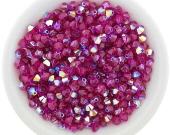 Fuchsia AB (3mm & 4mm) Swarovski Crystal 5328 Xilion Bicones