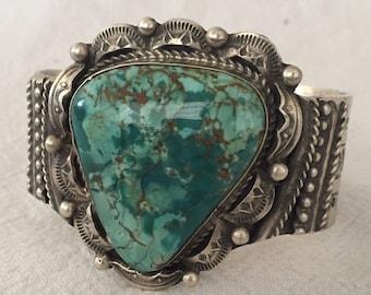 Signed Vintage NAVAJO Hand-Stamped Sterling Silver TURQUOISE Cuff BRACELET