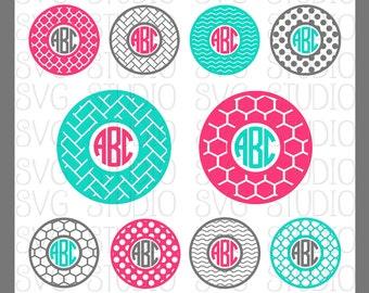 Circle SVG Monogram Frames, Circle SVG frames, Cricut Cut Files, Silhoutte Cut files, dxf, png, Circle Cut Files