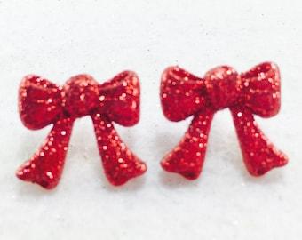 Christmas Stud Earrings, Christmas Bow Earrings, Red Glitter Earrings, Holiday Post Earrings
