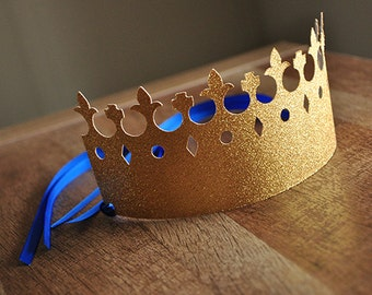 Little Prince Party Decorations.  Handcrafted in 2-5 Business Days.   King Crowns as Party Favors.