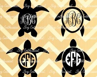 Turtle Monogram Frame SVG, Turtle SVG cut files, Turtle silhouette, Cricut, Dxf, PNG, Vinyl, Eps, Clip Art, Vector, Monogram