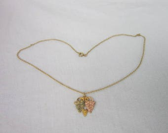Black Hills 10 K Yellow & Rose Gold Pendant with Gold Filled Chain