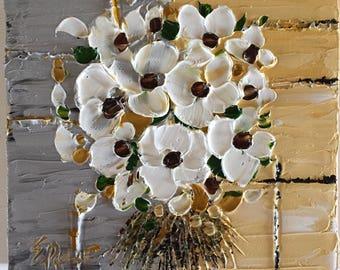 White Blossom Bunch, Oil Painting, Flower Impasto