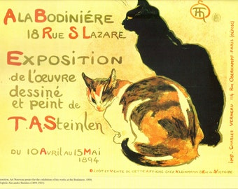 """Steinlen's """"Ala Bodiniere 1894 Exposition"""" Reproduced French Vintage Poster to Frame or Paper Arts, Collage, Scrapbooking & MORE PSS 1925"""