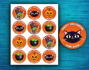 """Personalized Halloween Stickers - Halloween Stickers - Halloween cupcake toppers - Favor Tags - Circle Stickers - 2.5"""""""