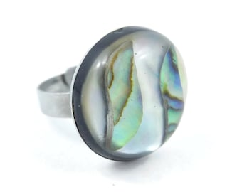 Vintage, Abalone Ring, Round, Silver Tone, Adjustable