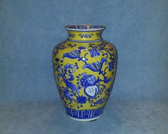 Asian Vase - Hand Painted - Cobalt Blue and Yellow