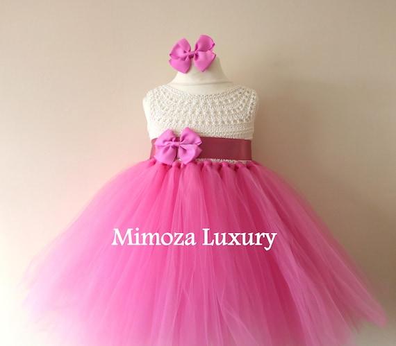 SALE size 12-18m Ready to ship, pink Flower girl dress tutu dress,  bridesmaid dress, princess dress, crochet top tulle