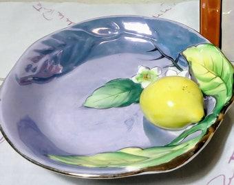 Vintage Light Purple Blue Lustre Ware with Appliqie Lemon