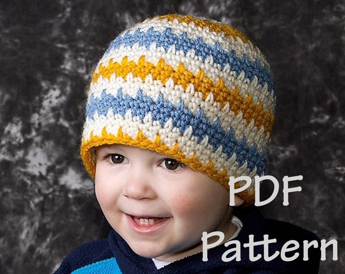 Instand download, permission to sell, Easy crochet beanie pattern, easy crochet hat pattern, striped crochet hat pattern, crochet pattern,
