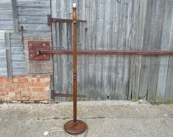 Vintage Turned Hard Wood Stained Beech Standard Lamp.