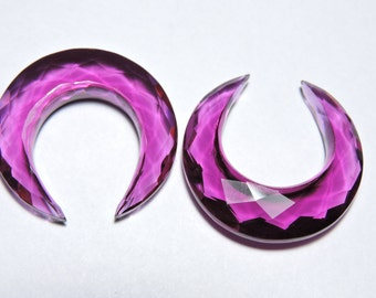 2 Pieces Extremely Beautiful Rubilite Pink Quartz Faceted Moon Shaped Beads Size 31X31 MM