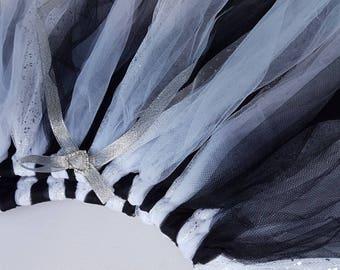 Monochrome black and white glitter fairy tutu skirt - Sz 5-8. Sparkly glitter tutu. Girls gift