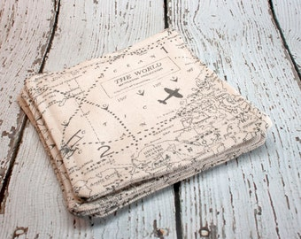 World Map Fabric Coasters, Set of 4