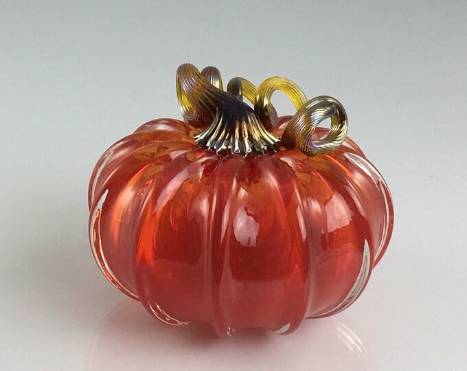 """Featured listing image: 3.5"""" Glass Pumpkin by Jonathan Winfisky - Transparent Bright Garnet Red - Hand Blown Glass"""