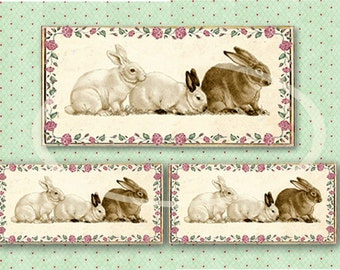 Bunny Rabbits Tag, Bunny Digital, Easter Rabbit, Easter Tags, Collage sheet-Instant Download, Easter Scrapbook clip art, craft supplies