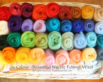 36 Colours Felting Wool - Free Tracking Number - Needle Felting Wool Platter- Wool Roving for Felting and Spinning - READY TO SHIP - 6.4 Oz